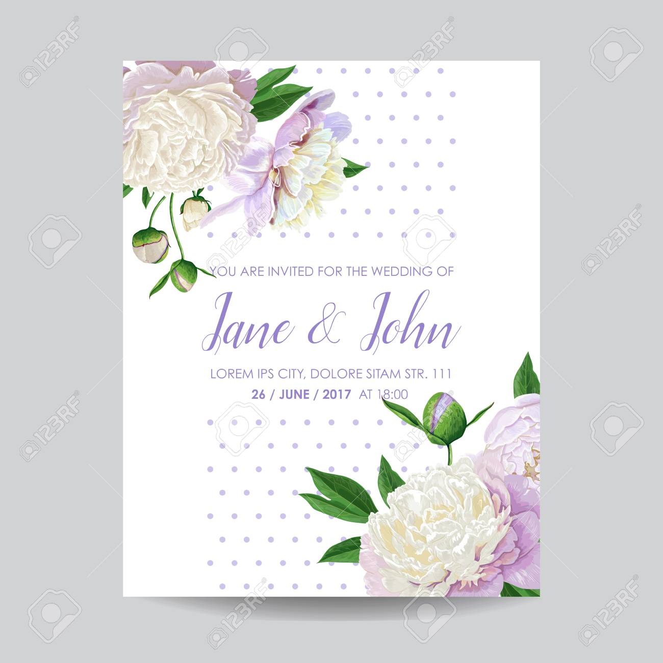 Floral Wedding Invitation Template. Save The Date Card With ...