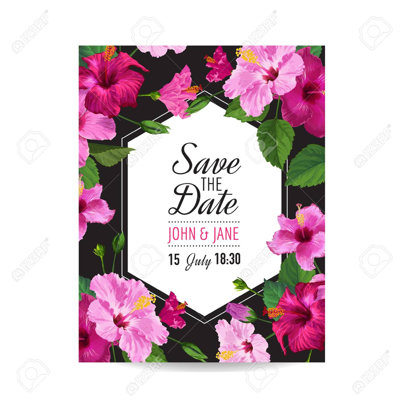 Wedding Invitation Template With Purple Hibiscus Flowers Save