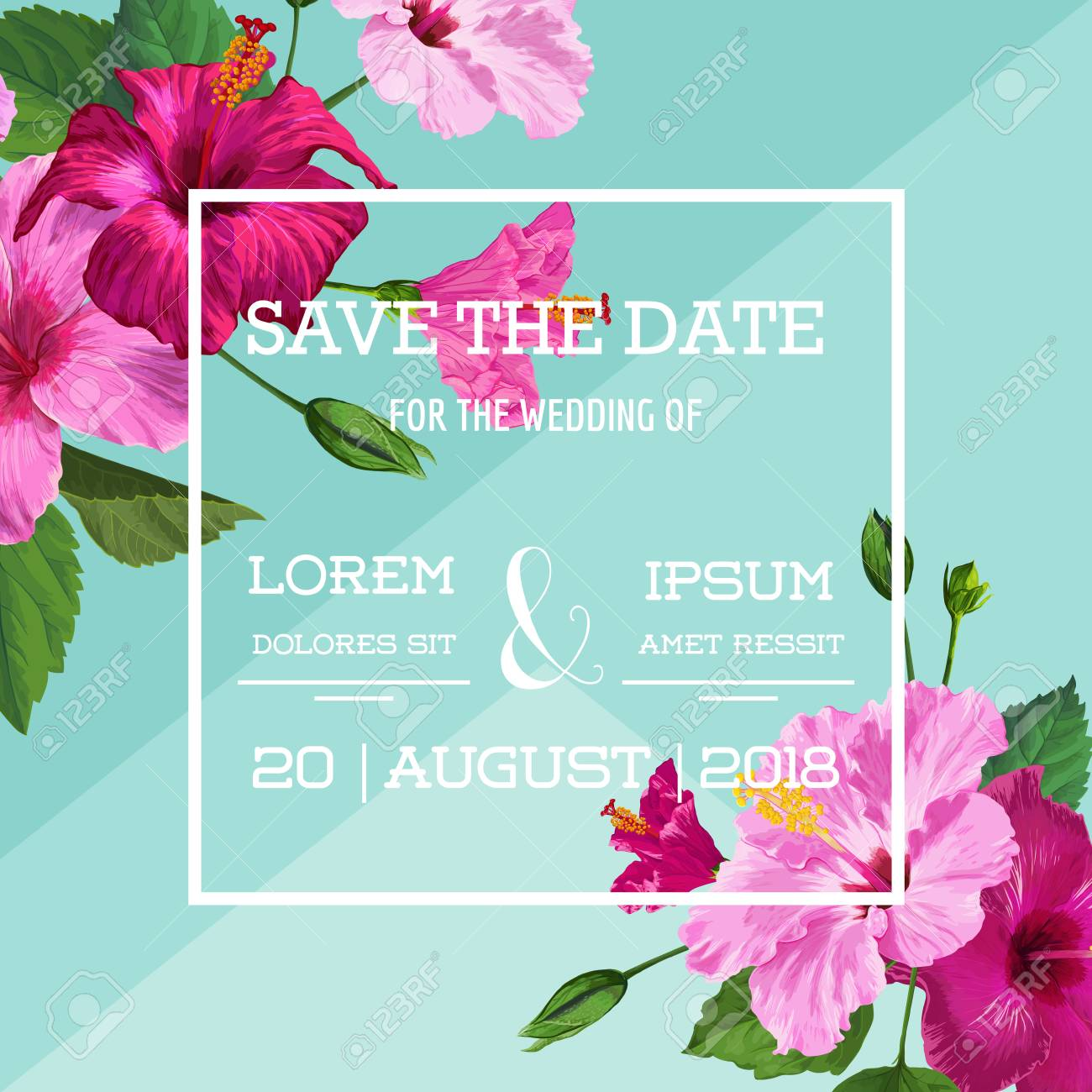 Wedding Invitation With Purple Hibiscus Flowers Save The Date