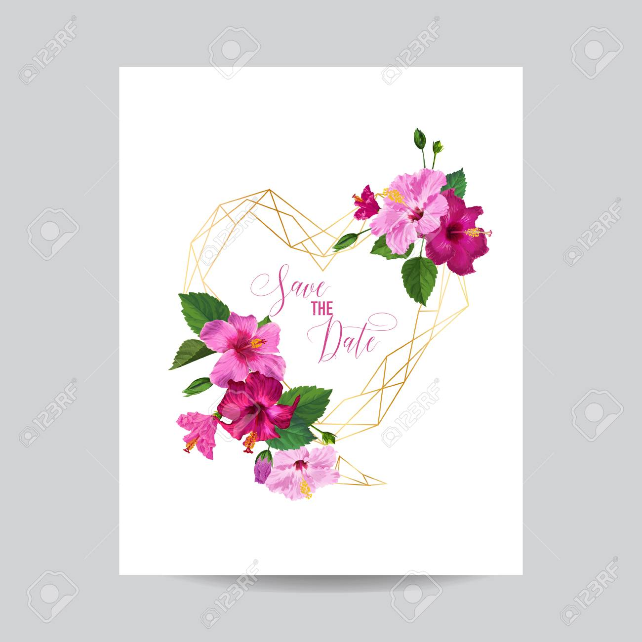 Wedding Invitation Template With Hibiscus Flowers And Golden