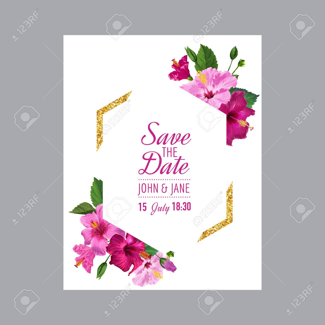 Wedding Invitation Template With Blooming Hibiscus Flowers And