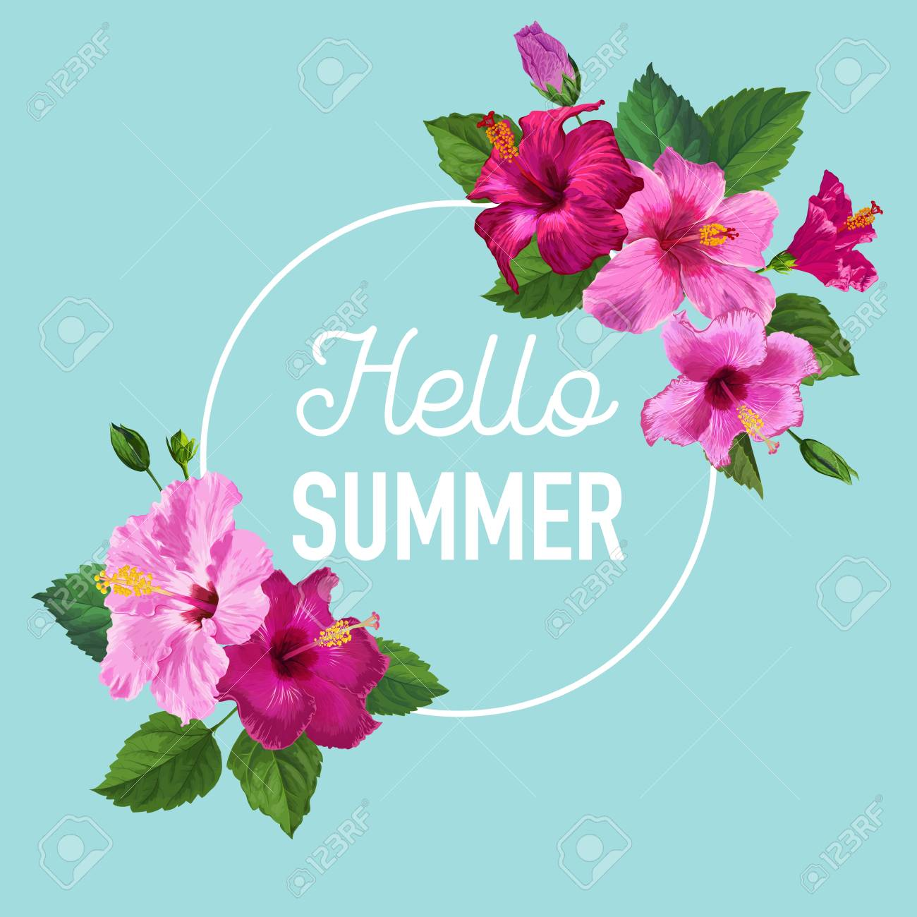 Hello Summer Poster Floral Design With Purple Hibiscus Flowers