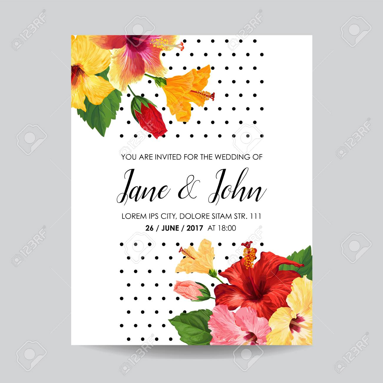 Wedding Invitation Template With Red Hibiscus Flowers Save The