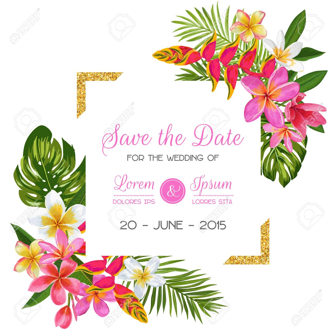 Wedding Invitation Template with Flowers. Tropical Floral Save the Date Card. Exotic Flower Romantic Design for Greeting Postcard, Birthday, Anniversary. Vector illustration - 101116673
