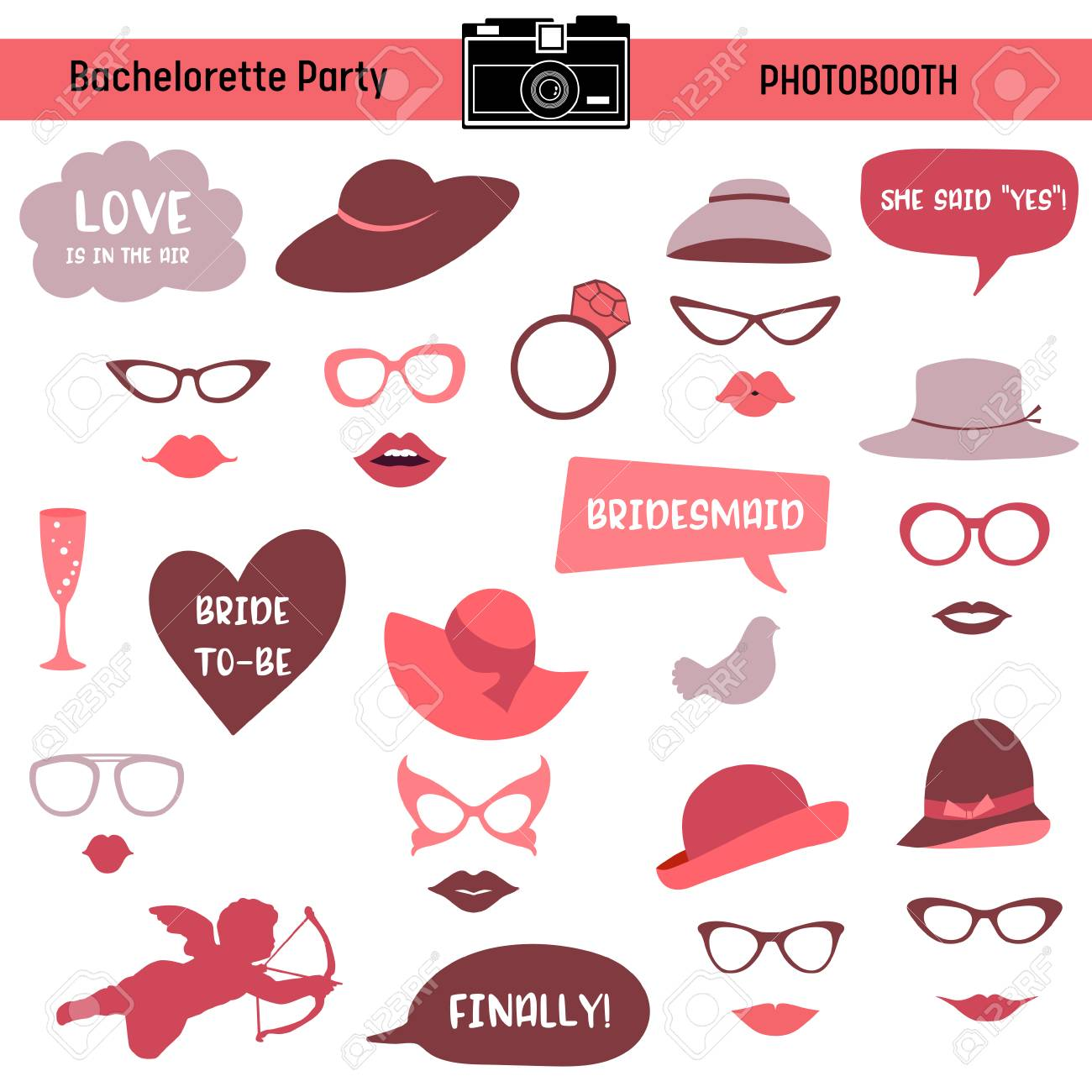 image regarding Free Printable Bridal Shower Photo Booth Props known as Bachelorette party, Rooster occasion, bridal shower printable Gles,..