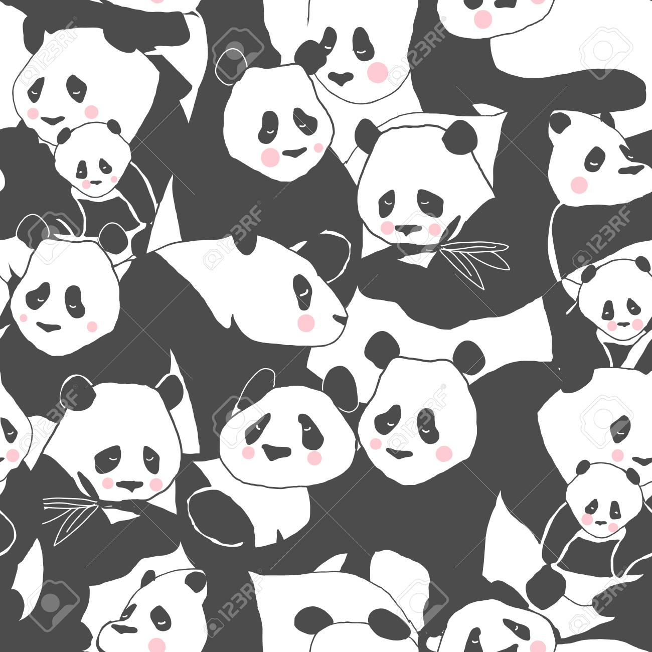 Cute Panda Bear Seamless Pattern Illustration For Textile Print