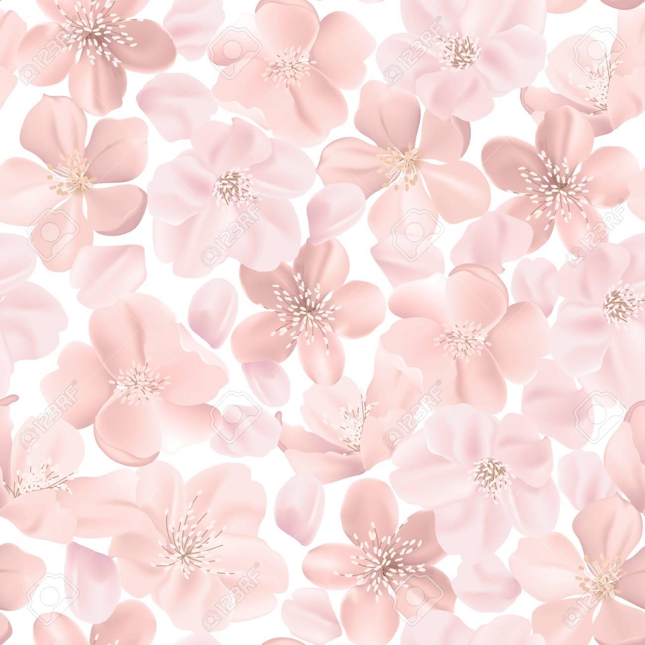 Floral Retro Seamless Pattern Cherry Or Sakura Flowers Background