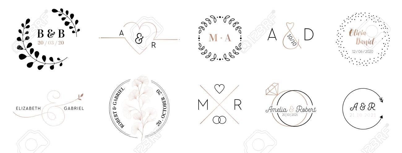 Wedding monogram logos collection