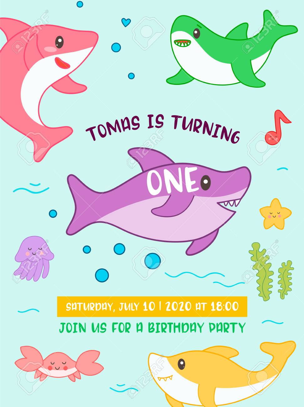 Baby Shower Birthday Invitation Card Kawaii Style With Cute Shark