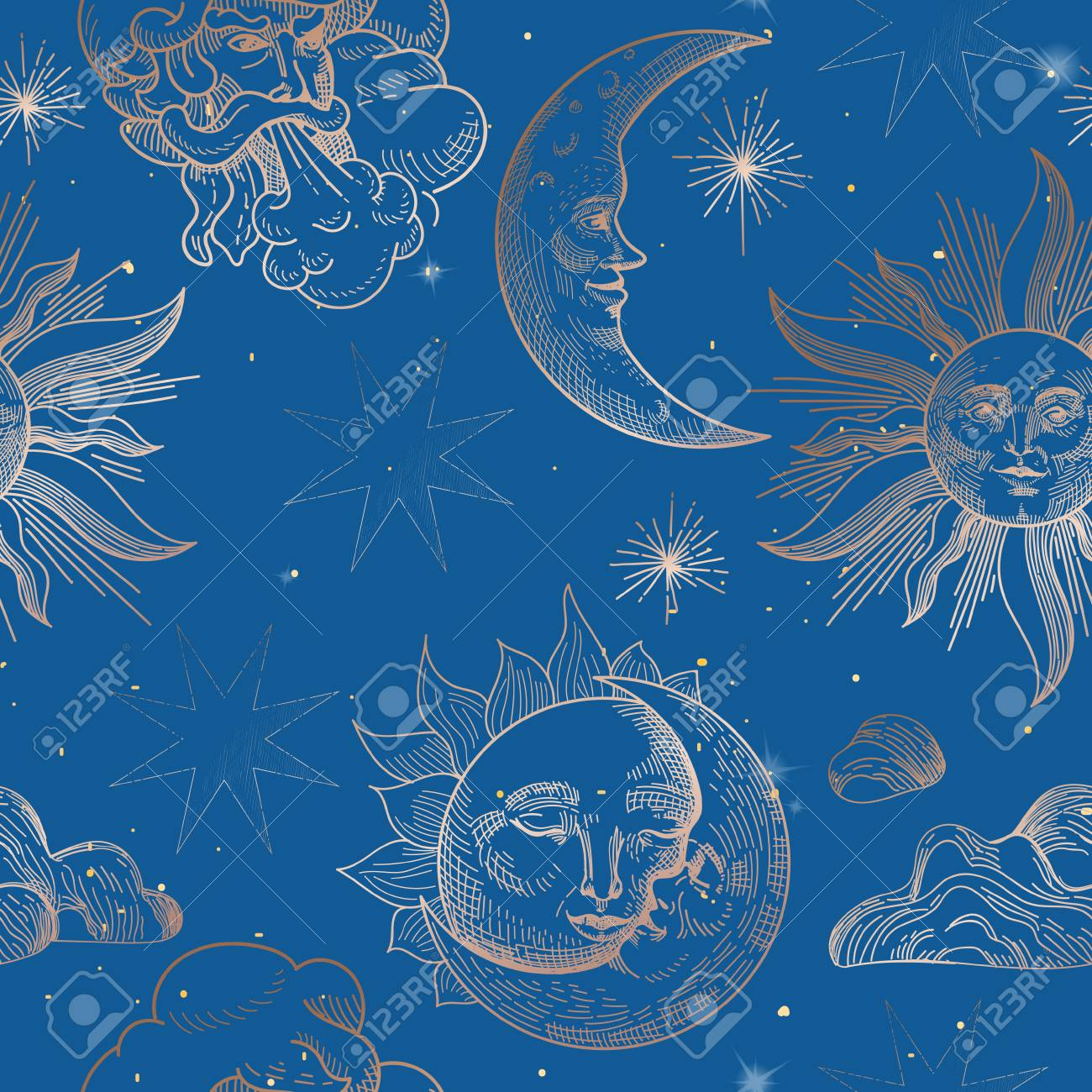 Sun and Moon Vintage Seamless Pattern. Oriental Style Background with Stars and Celestial Astrological Symbols for Fabric, Wallpaper, Decoration. Vector illustration - 117012460