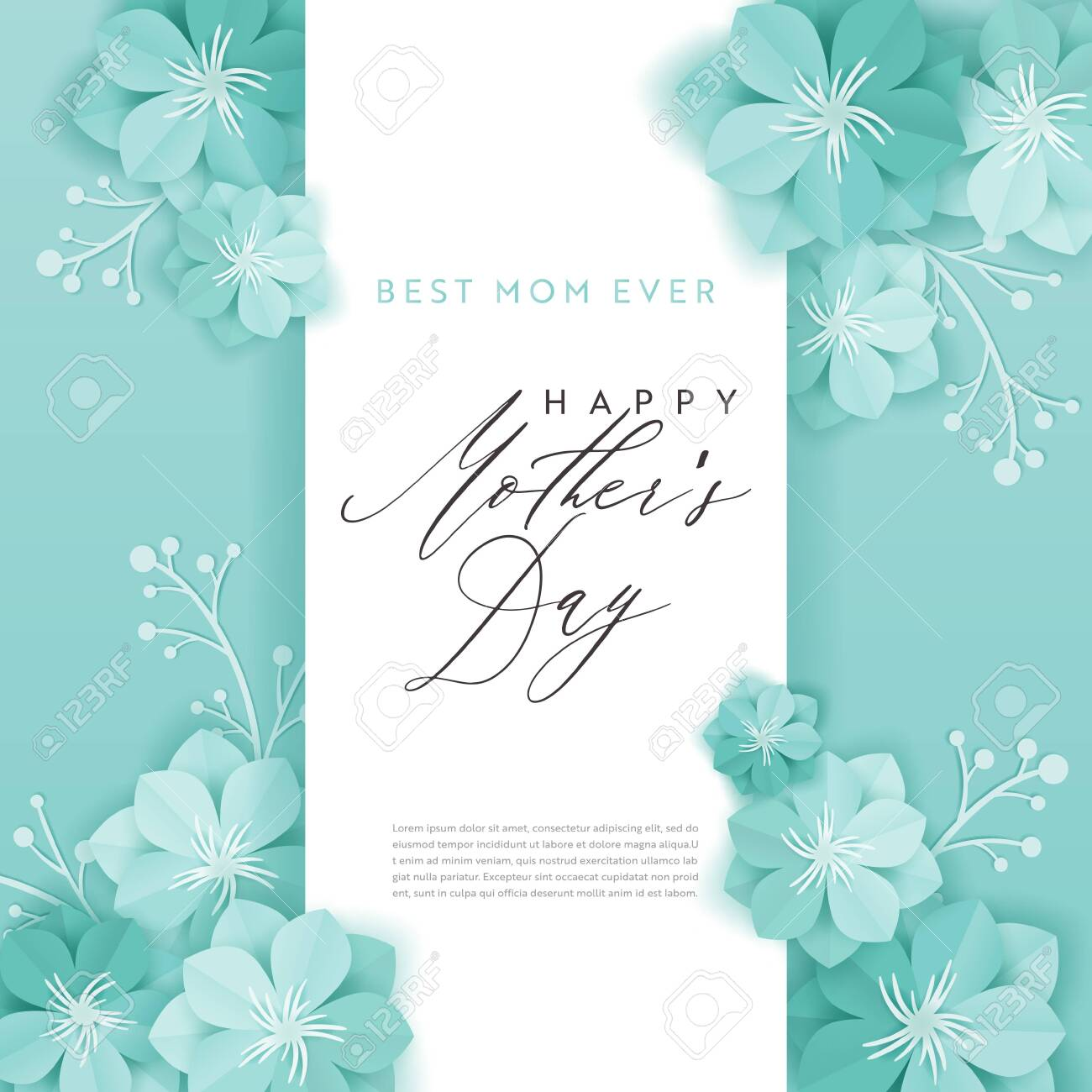 Happy Mothers Day Holiday Banner. Mother Day Greeting Card Hello Spring Paper Cut Design with Flowers and Floral Elements Typography Poster. Vector illustration - 122034438