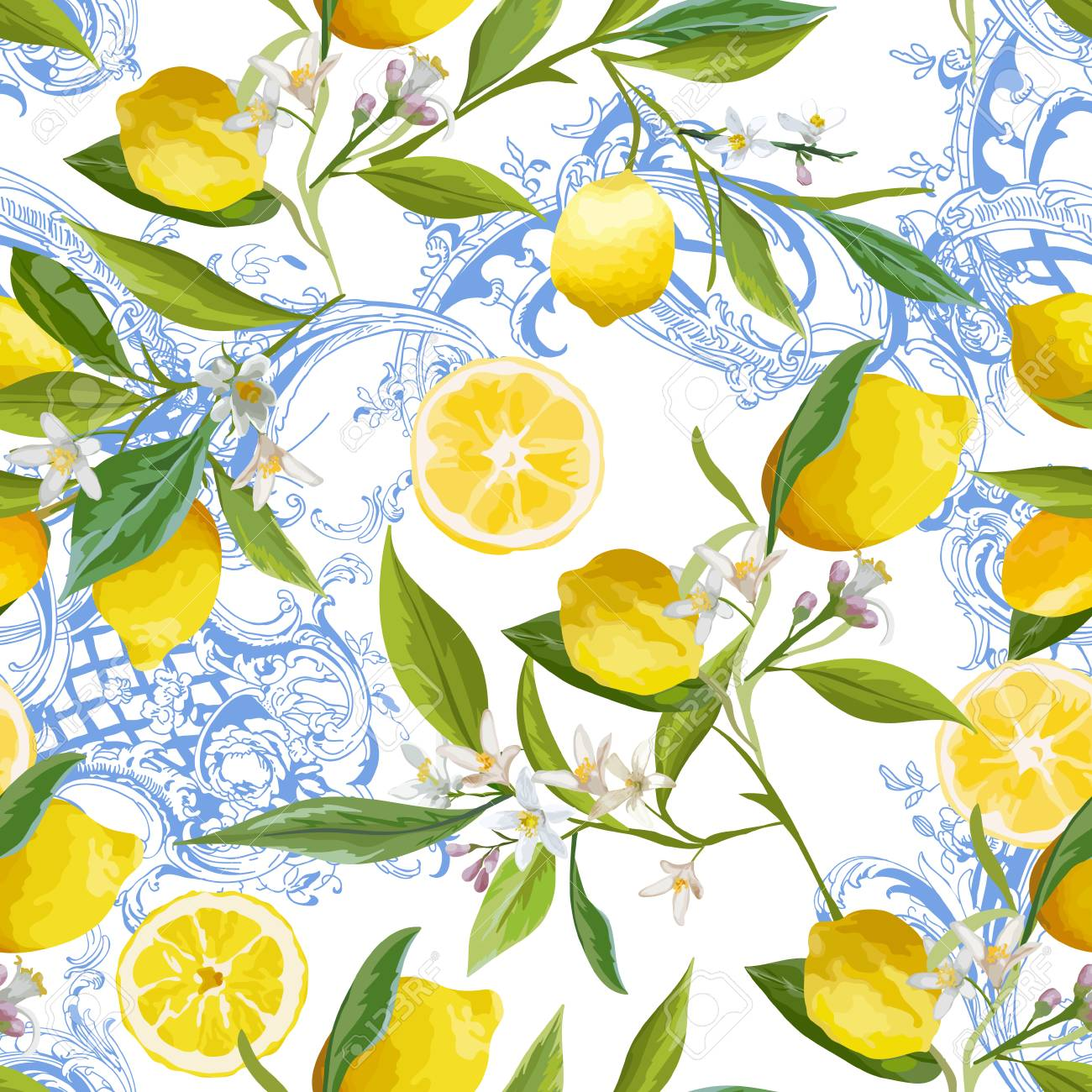 Seamless Pattern With Vintage Barocco Design With Yellow Lemon