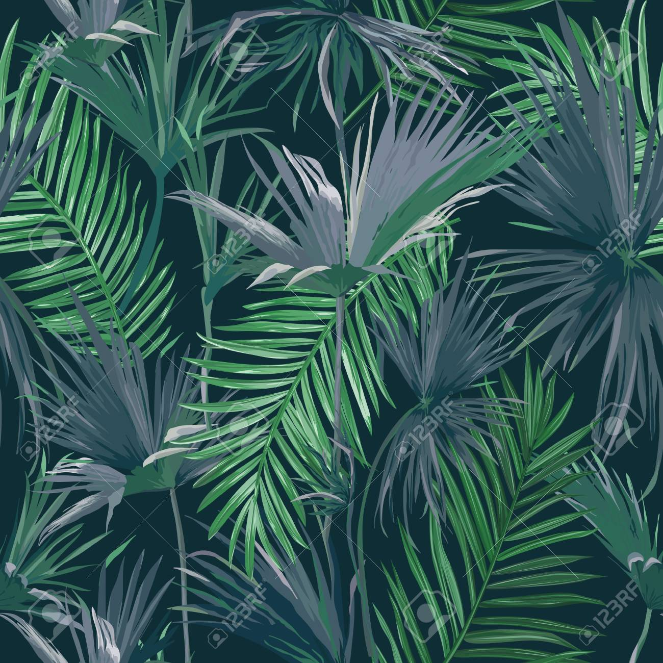 Tropical Jungle Palm Leaves Seamless Background, Vector Floral Pattern Illustration for Wallpaper, Print Design, Textile Template - 129344992