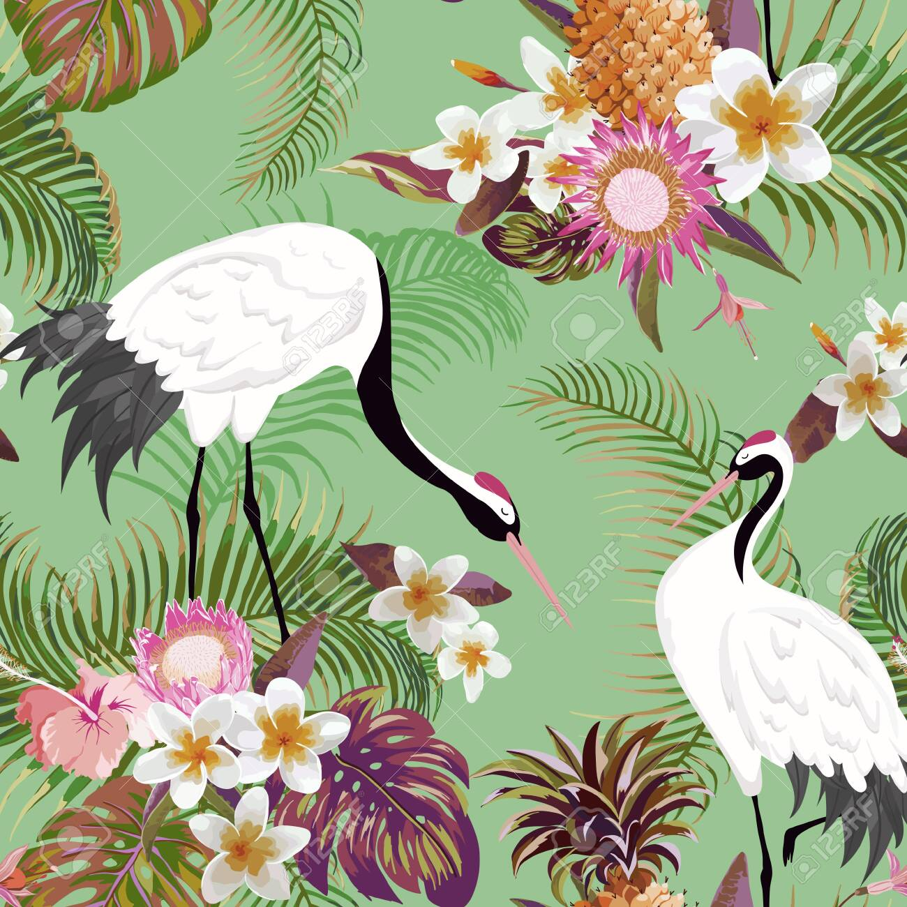 Seamless Pattern with Japanese Cranes and Tropical Flowers, Retro Floral Background, Fashion Print, Birthday Japanese Decoration Set. Vector Illustration - 129345035