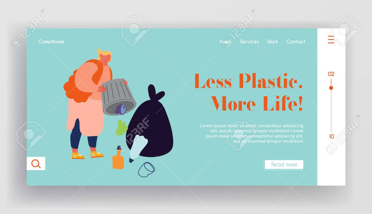 Ecology Protection and Struggle with Plastic Pollution Website Landing Page. Slovenly Woman Throw Garbage Out of Litter Bin Polluting Environment Web Page Banner. Cartoon Flat Vector Illustration - 133661665