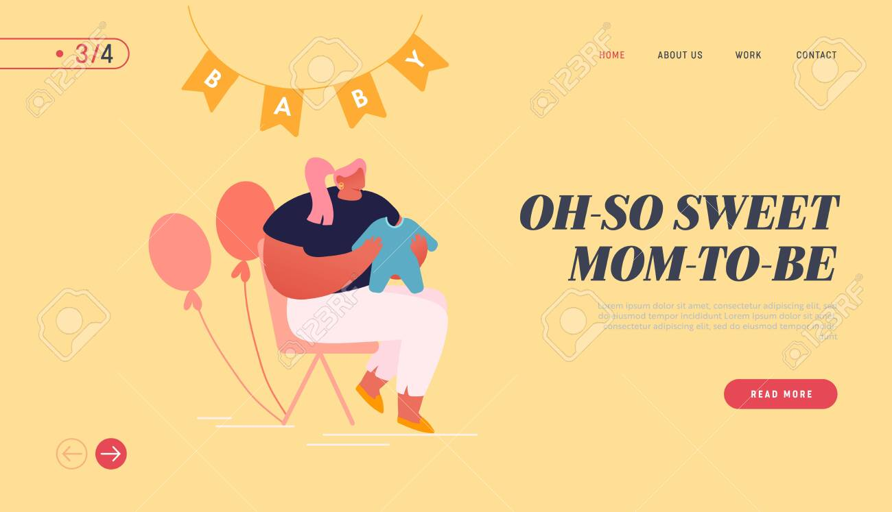 Baby Shower Celebration Website Landing Page. Young Woman Holding Child Clothing in Room Decorated with Balloons - 141028850