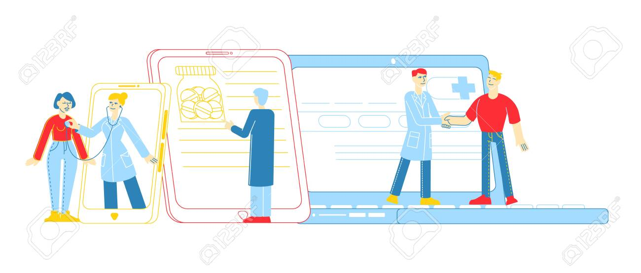 Distant Online Medicine Consultation, Smart Medical Technologies. Doctors Characters Communicate with Patients through Computer or Mobile Phone from Hospital Cabinet. Linear People Vector Illustration - 144449042