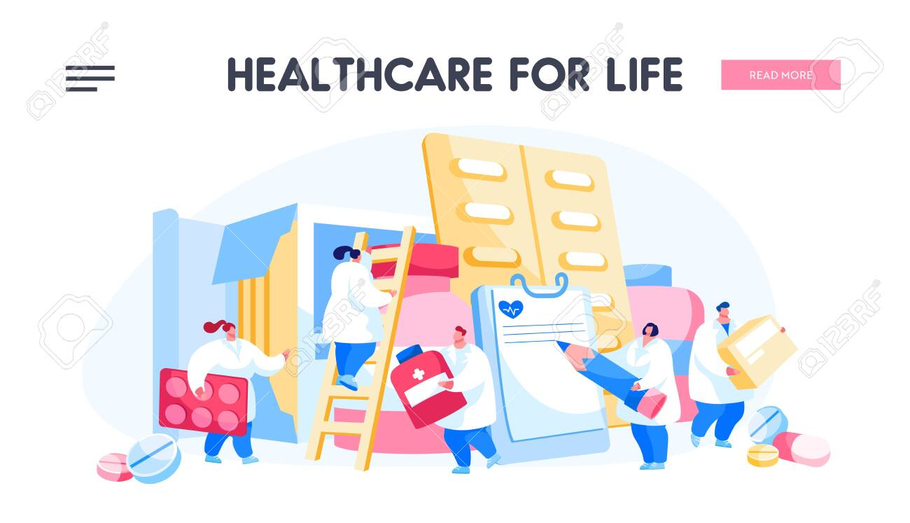 Pharmacy, Clinic, Hospital Landing Page Template. Pharmacist Doctor Characters with Huge Pill Boxes and Medical Drugs. Healthcare Staff at Work, Medicine Occupation. Cartoon People Vector Illustration - 145660428