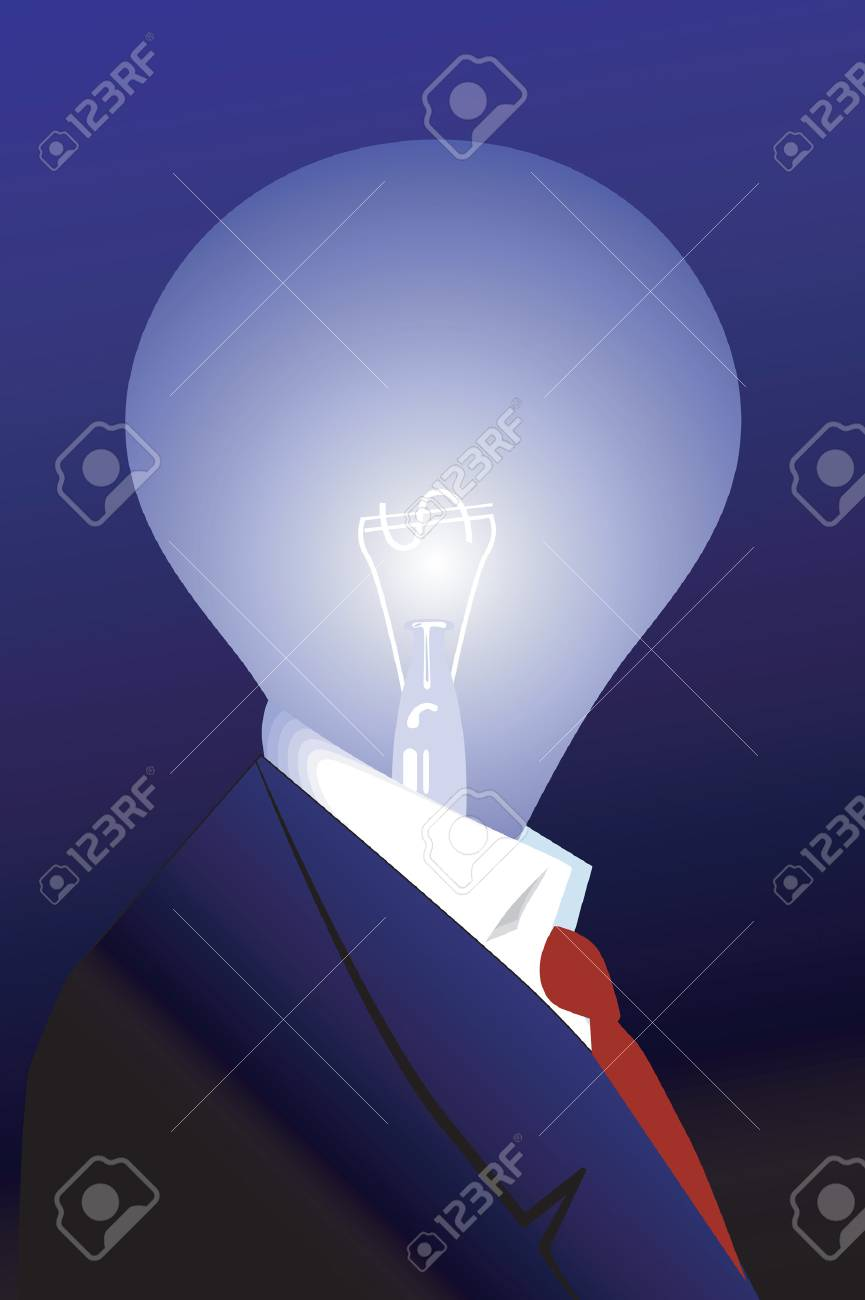 Bulb with dollar filament in Businessman suit Stock Vector - 1640385
