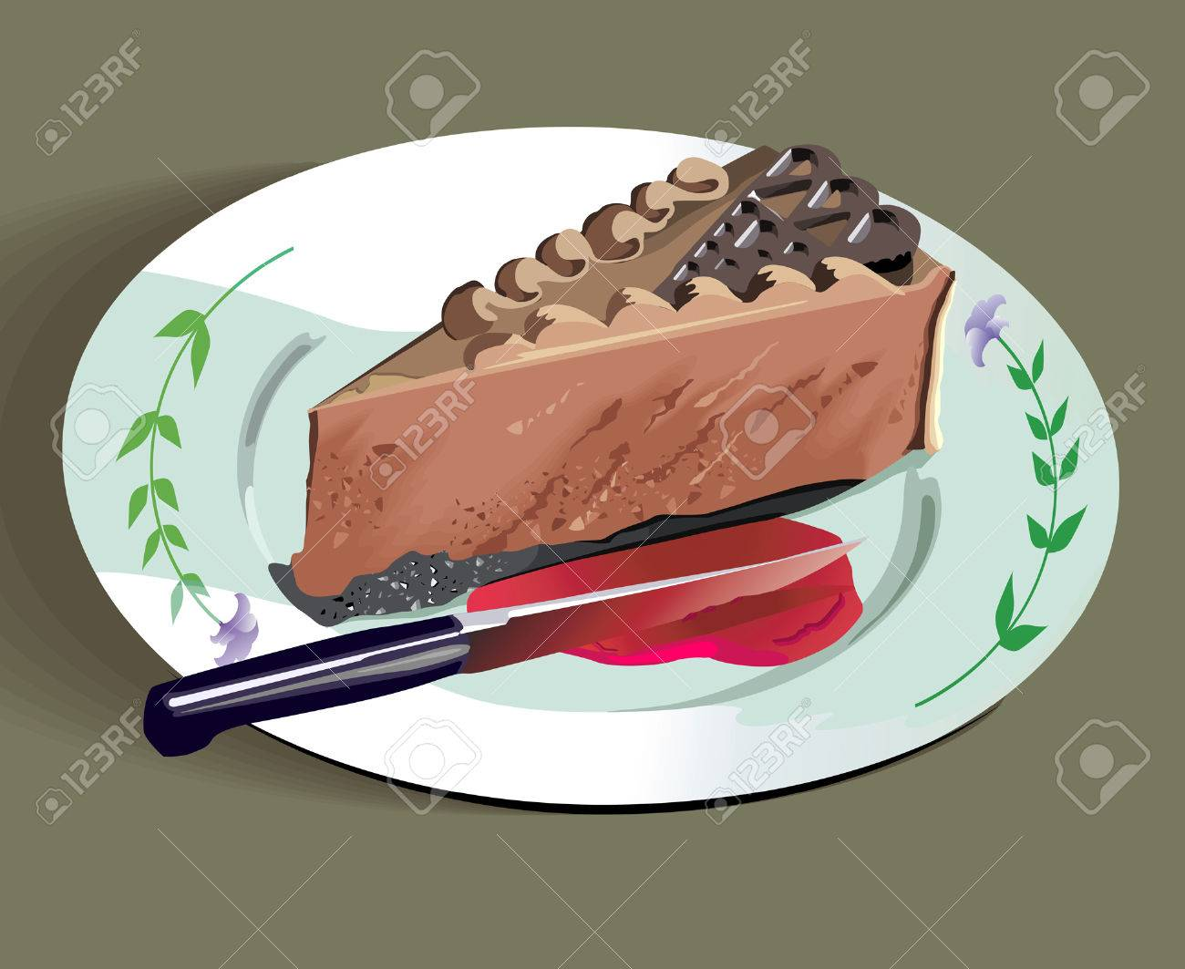 A Slice of cake and knife on plate Stock Vector - 1695039 : cake and plate - pezcame.com
