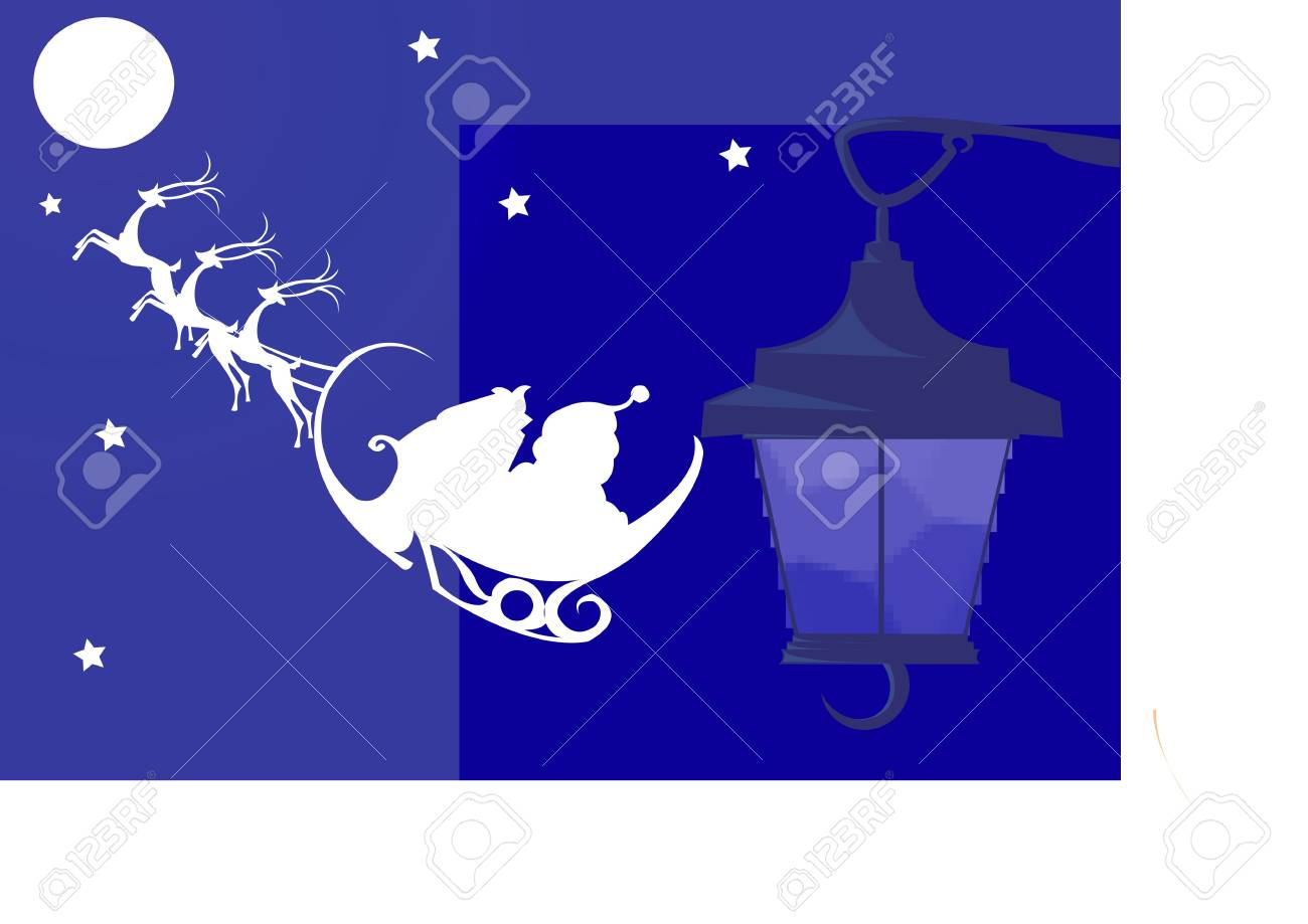 Illustration of Santa clause with Christmas gifts from moon to streetlamp Stock Illustration - 2287133
