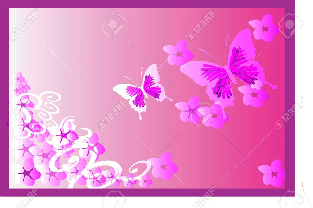 Illustration of Butterflies in floral background Stock Photo - 2287100