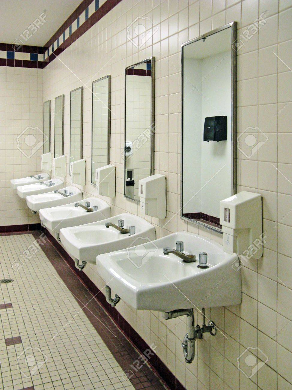 Public Bathroom Sink sinks in a public restroom stock photo, picture and royalty free