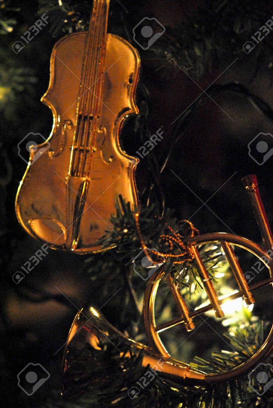Music christmas ornaments - Golden Miniature Musical Instrument Christmas Ornaments Stock Photo 11875019