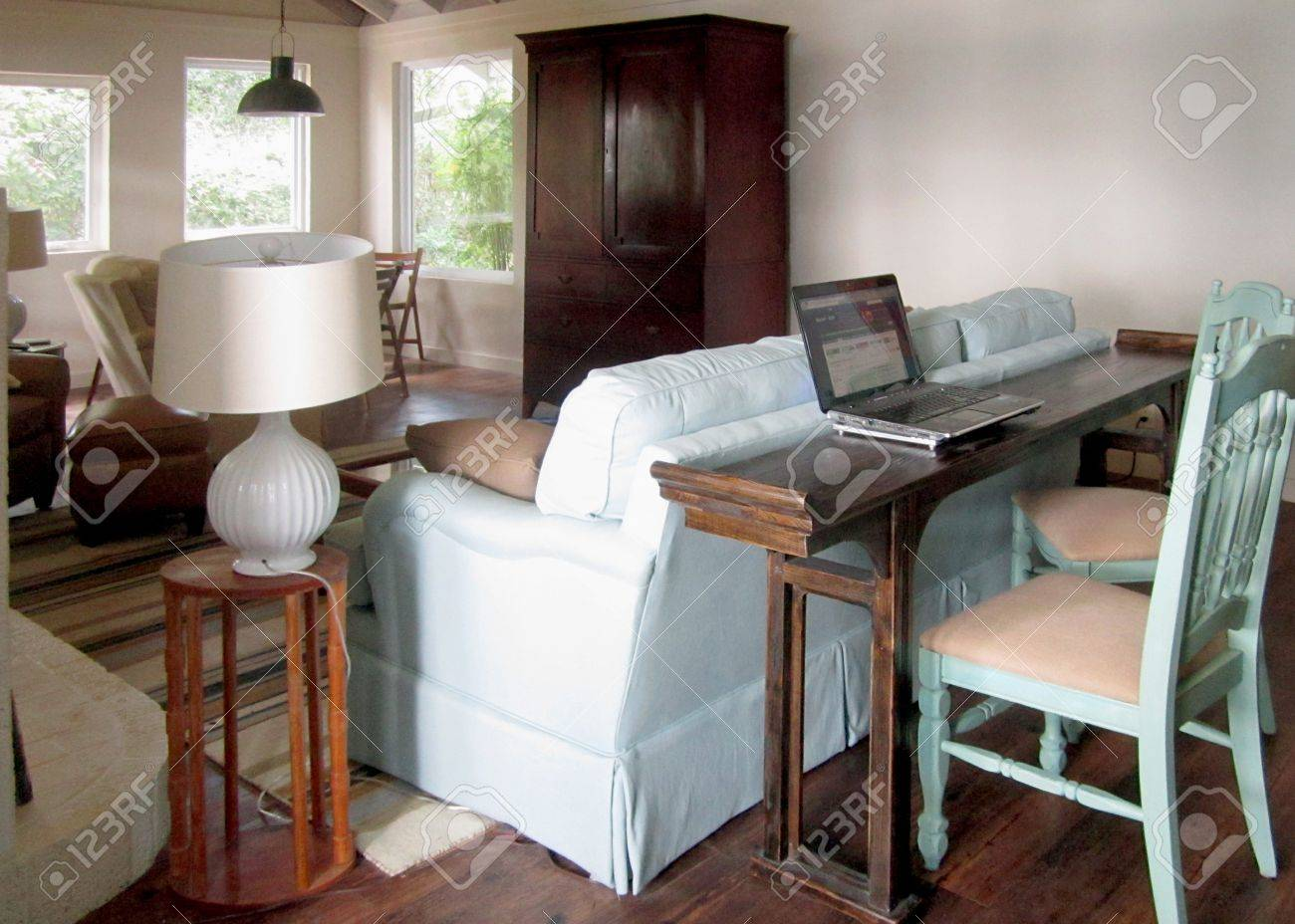 Dining Room Table Behind Couch A Long Narrow Table Behind The Sofa  Changes A Passageway Into