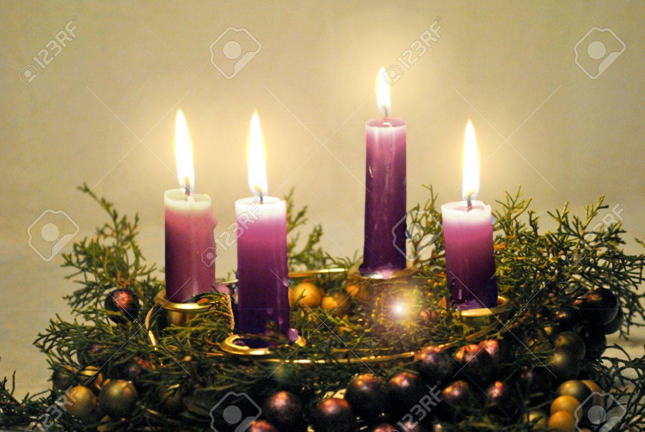 Advent Wreath With Lighted Candles Stock Photo, Picture And ...