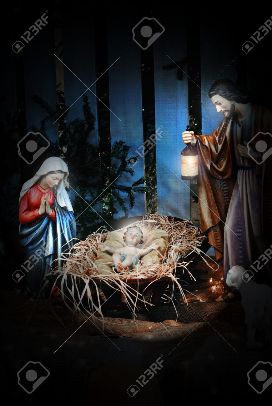 nativity scene with joseph mary and the baby jesus in a manger