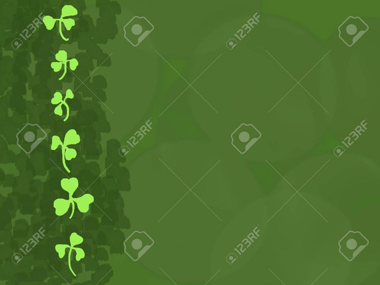 A column of bright green shamrocks as a border on a green background. Stock Vector - 17922280