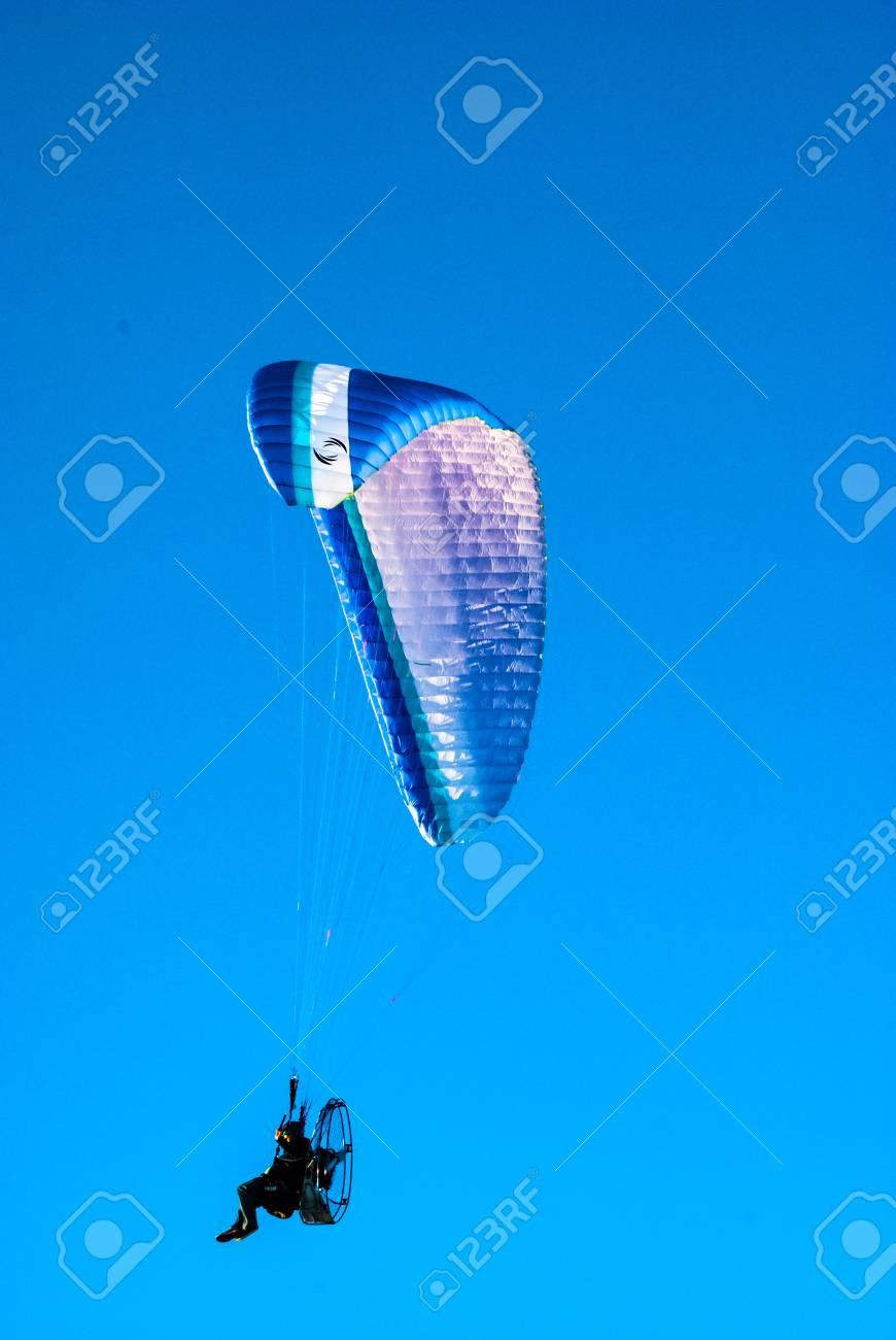 Powered paraglider in flight