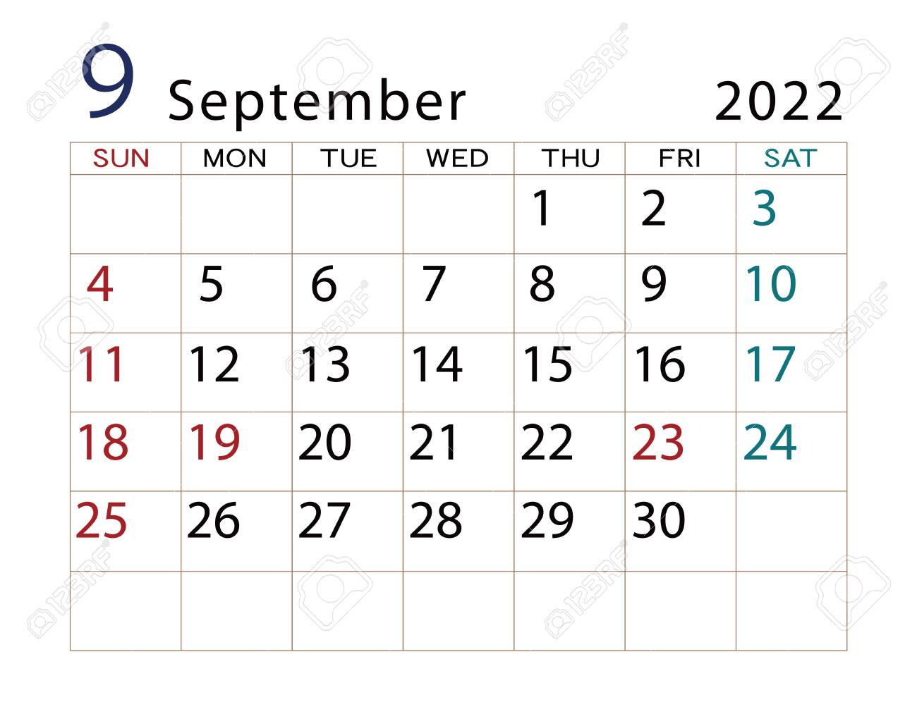 Calendar September 2022.2022 Calendar September Part 2 Stock Photo Picture And Royalty Free Image Image 153252897
