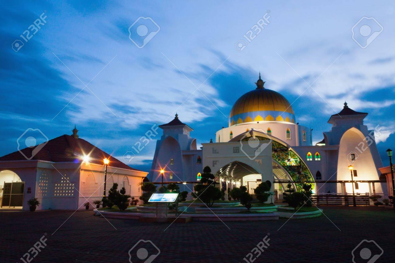 A long exposure shot of Malacca Straits Mosque, Malaysia - 18748185
