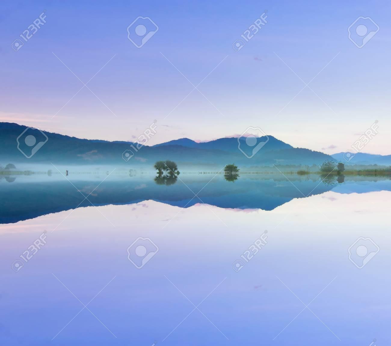 Reflection of hills at Borneo, Sabah, Malaysia - 25803046