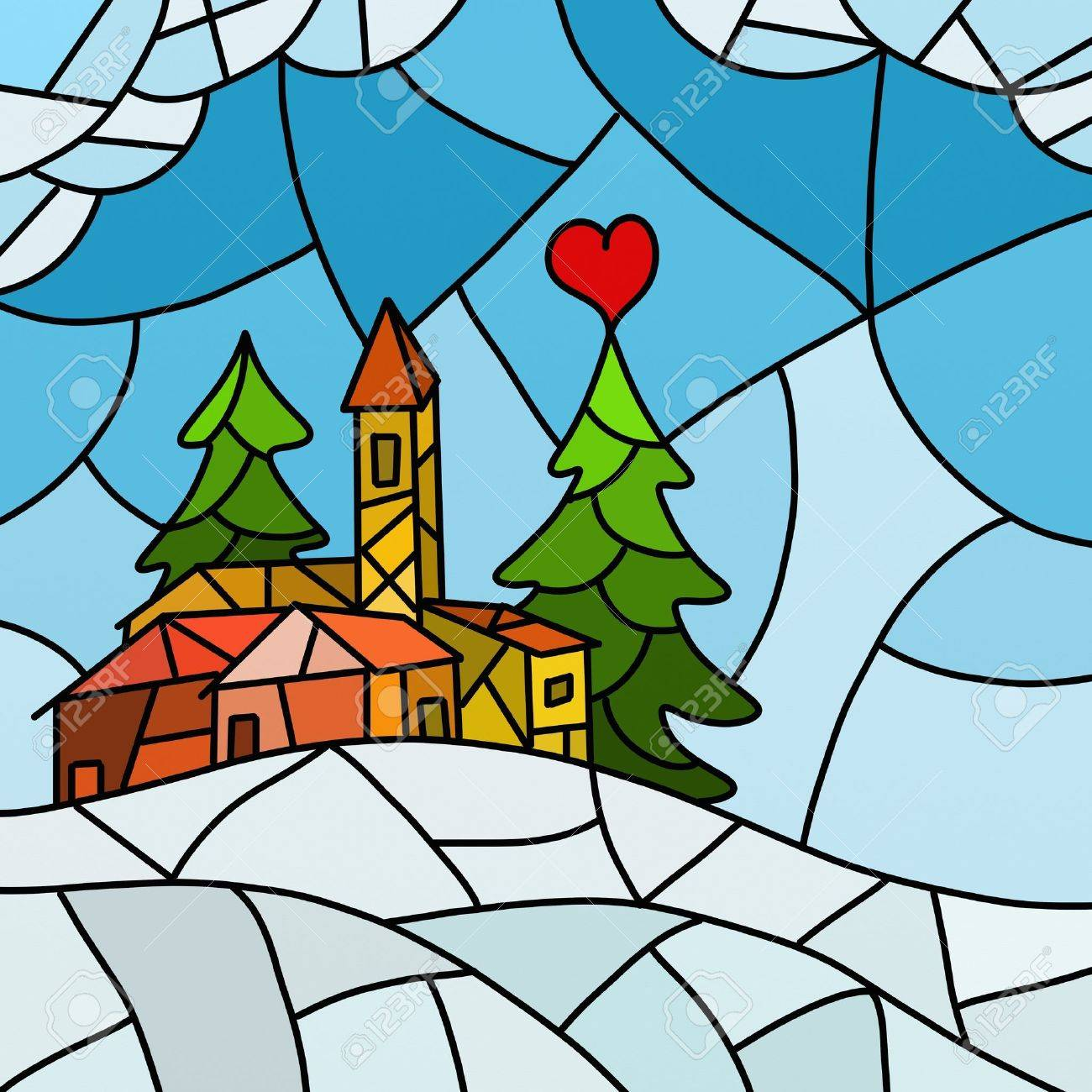 Christmas abstract landscape Stock Photo - 10826233