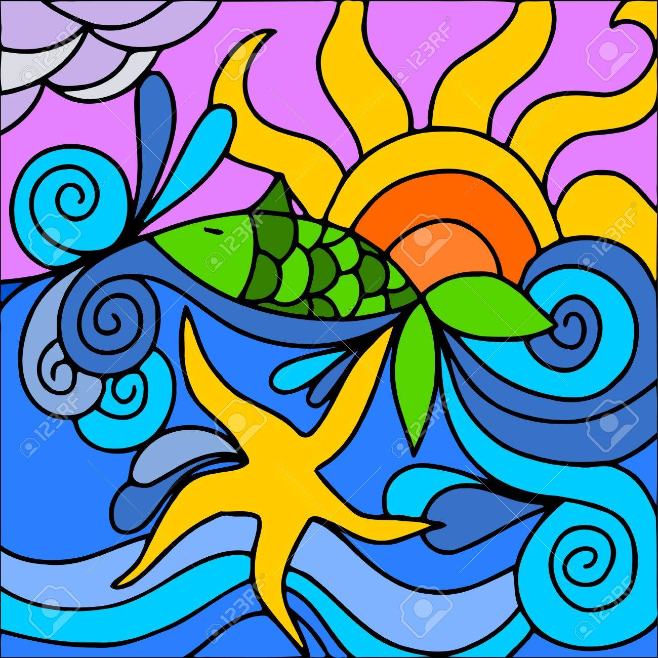 abstract illustration with sea and sun royalty free cliparts rh 123rf com Free Cartoon Sun Free Cartoon Sun