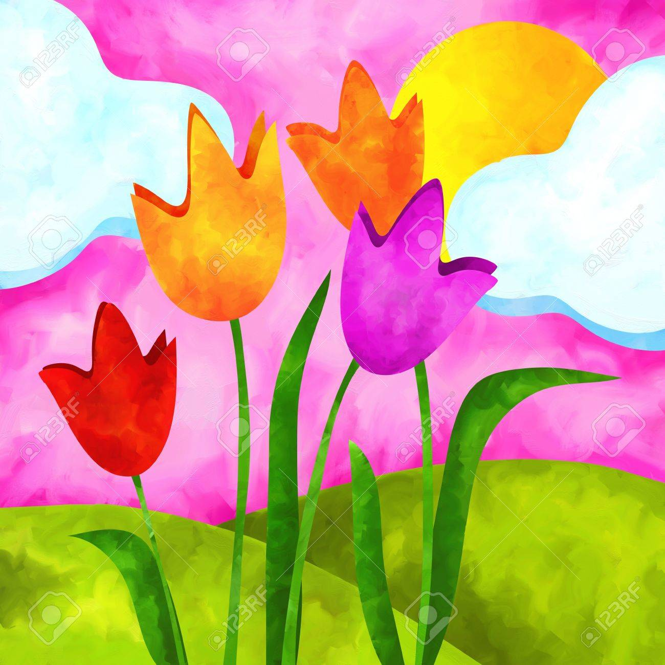 abstract background with tulips and sun Stock Photo - 14523993