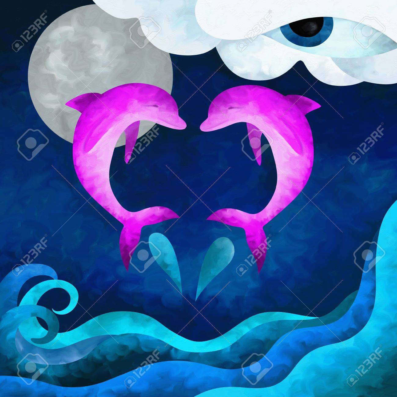 abstract illustration with two pink dolphins Stock Photo - 16941365