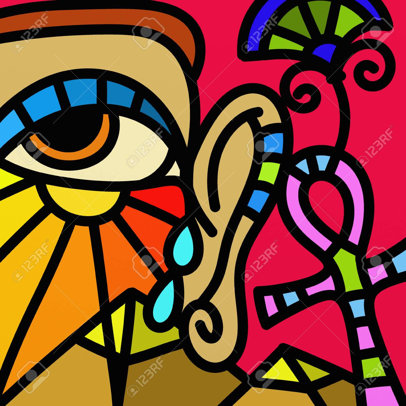 Eye And Colorful Abstract Design With Egyptian Symbols Stock Photo