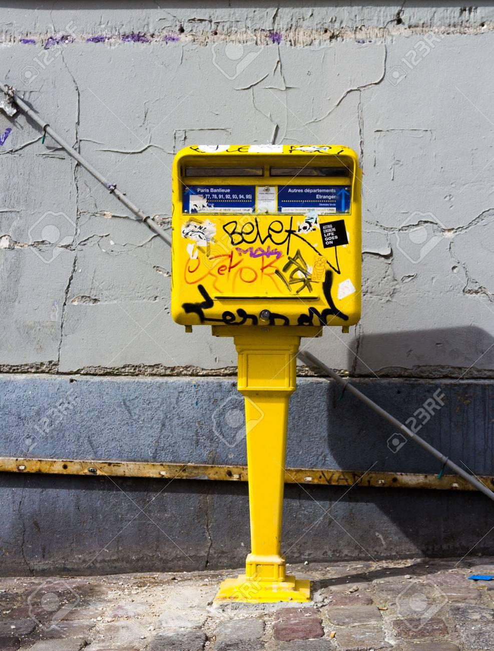 PARIS, FRANCE - 19TH MARCH 2014 A postcode covered in Graffiti
