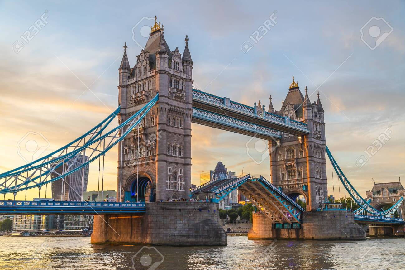Tower Bridge in London at sunset. This is one of the oldest bridges and landmarks and a popular tourist attraction. - 131357543
