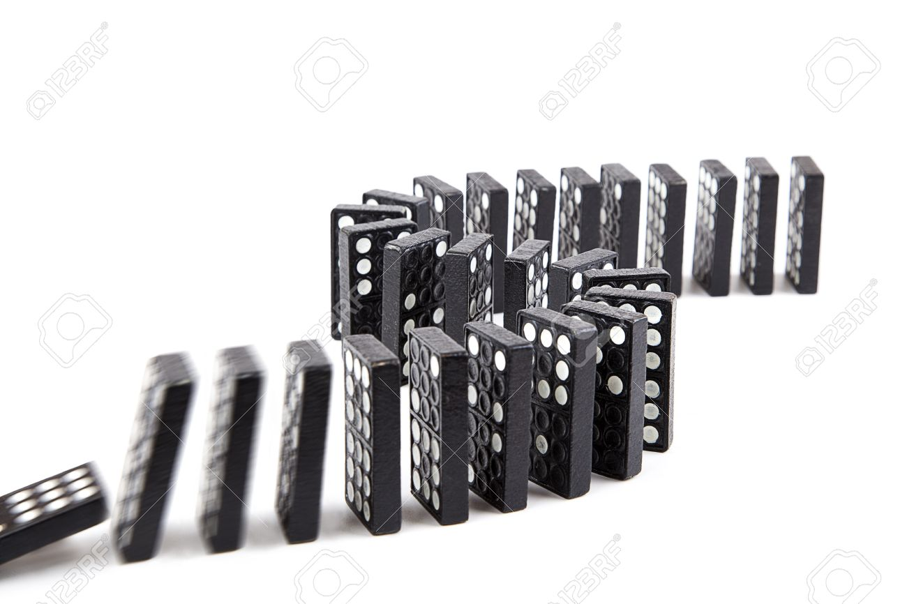 domino effect black wooden domino line curve stock photo picture stock photo domino effect black wooden domino line curve