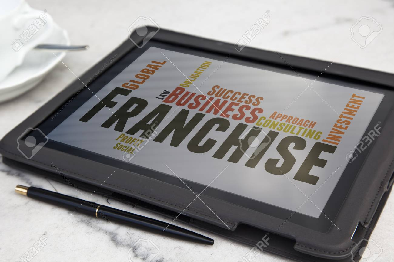 tablet with Franchise word cloud - 27829119