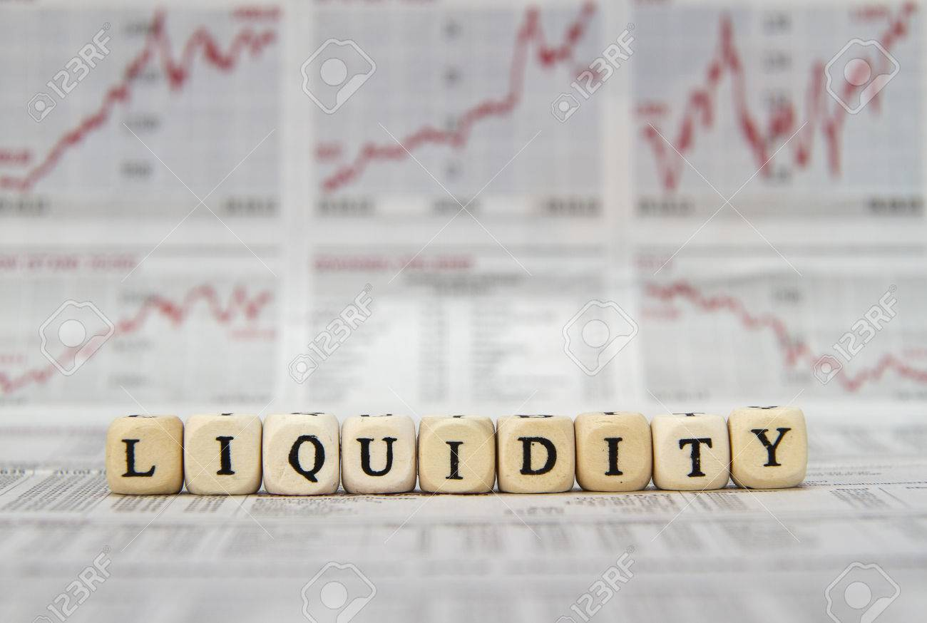 Liquidity word built with letter cubes - 40852931