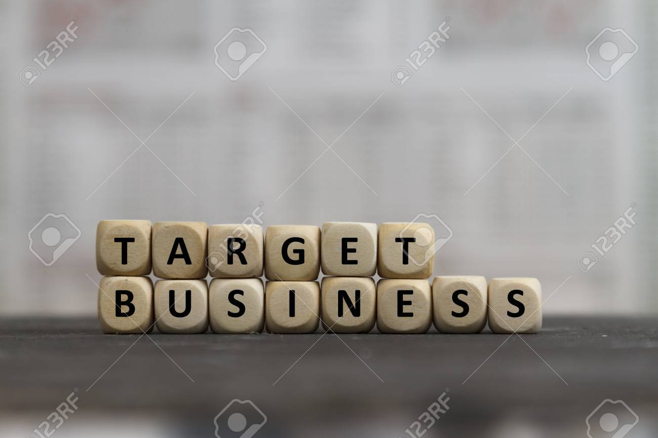 stock photo target business word built with wooden letters