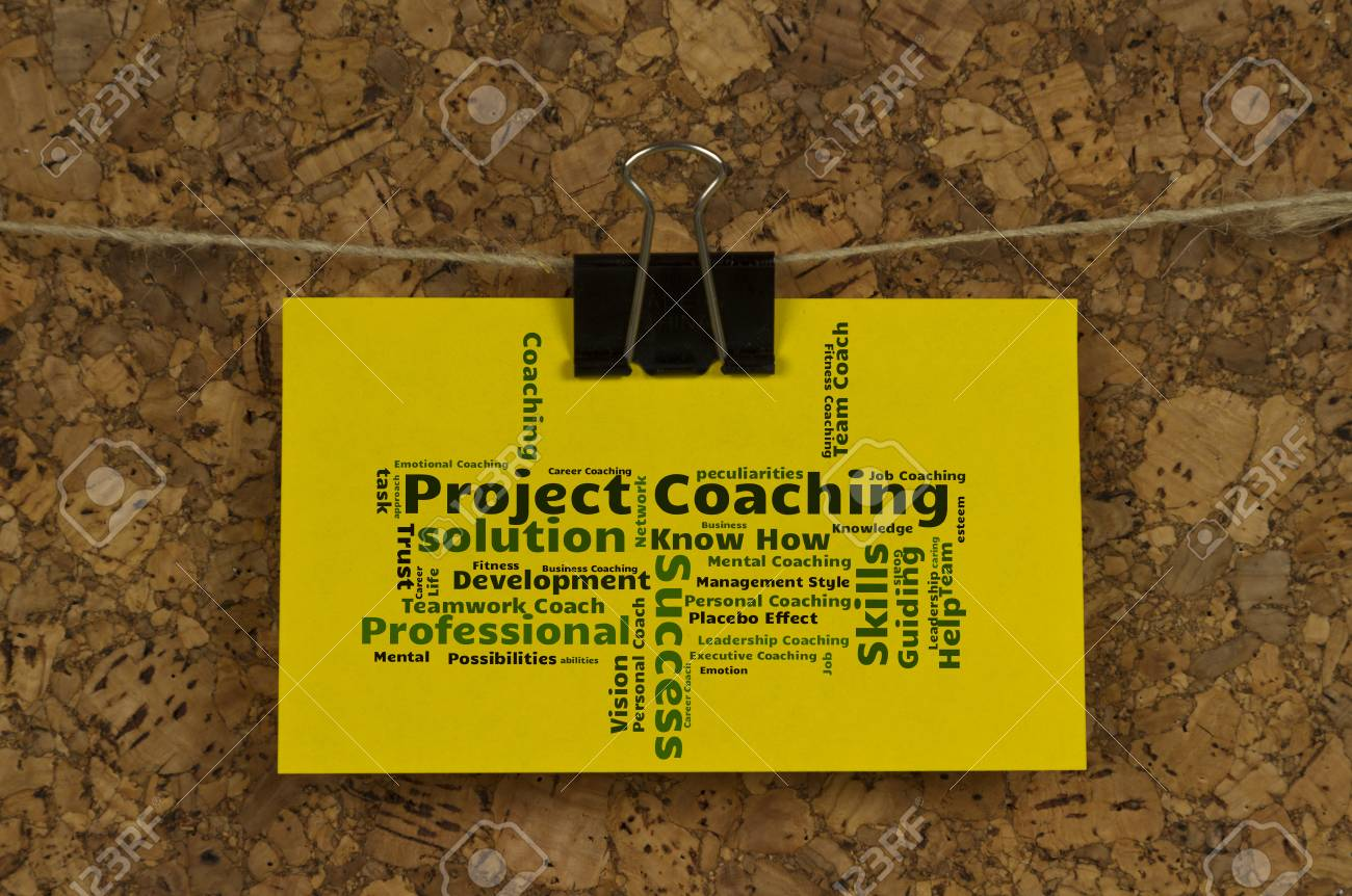 Project coaching word cloud on business card pinned up on cork project coaching word cloud on business card pinned up on cork board stock photo 64288588 reheart Images
