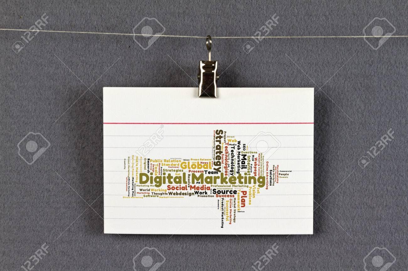 Digital Marketing Word Cloud On A Business Card Pinned Up On Stock