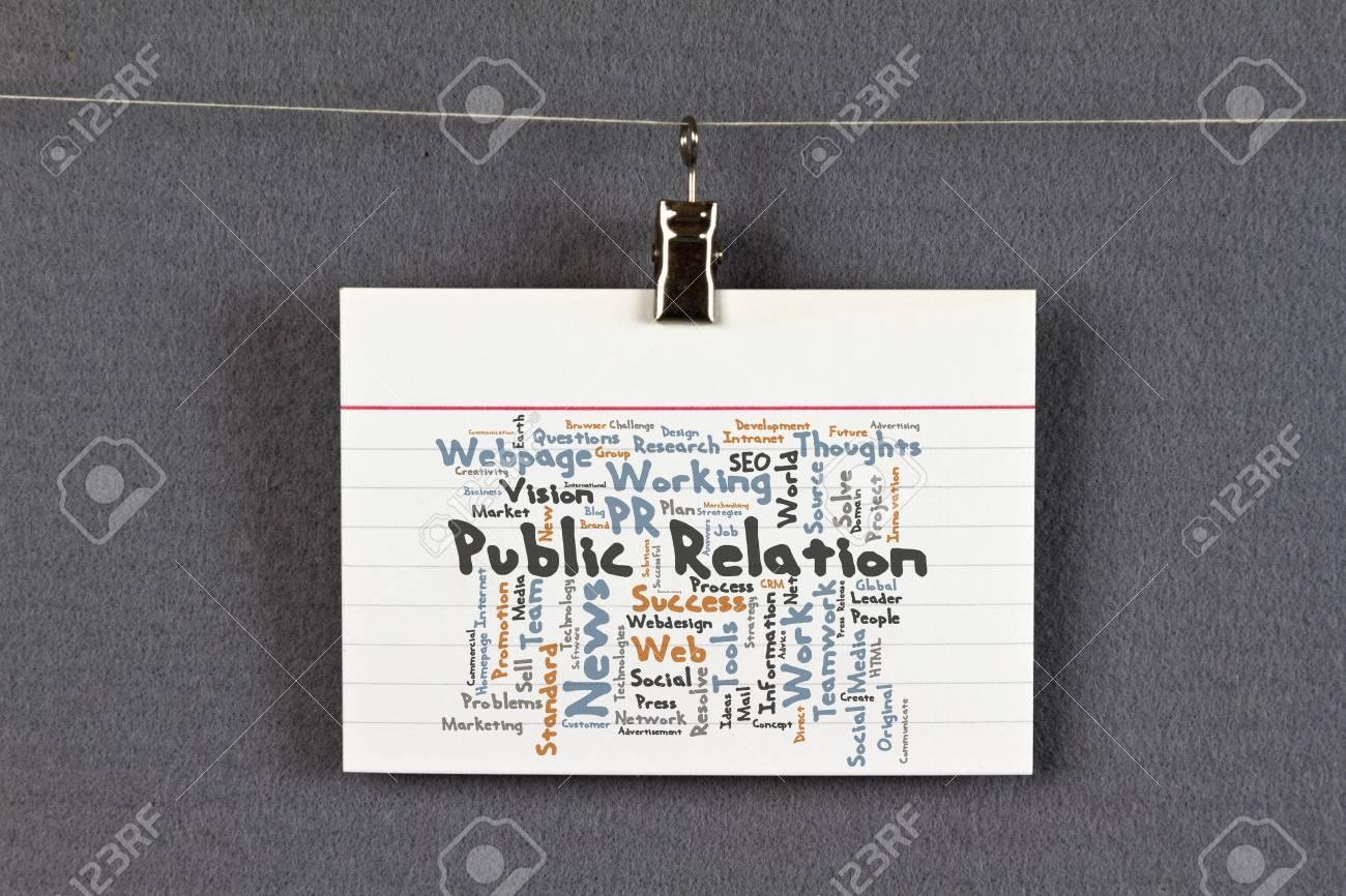 Relation Publique Nuage De Mots Sur Une Carte Visite Pingle